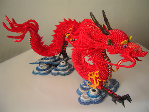 Red Dragon 3D Origami Paper