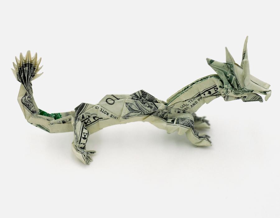 A Dragon Dollar Origami