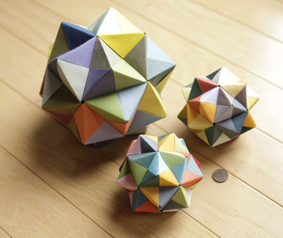 Three different sized Geometric Origami