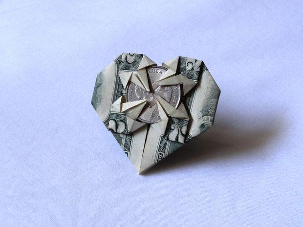 Mini Money Origami Heart