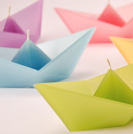 Group of Colorful Origami Boats