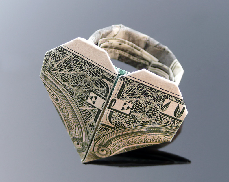 origami dollar heart with a ring 2018