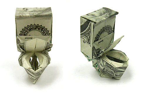 Cute toilet bowl Origami Dollar