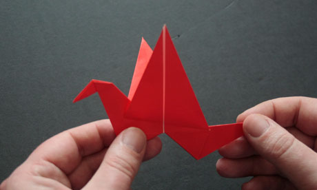 Red Origami Flapping Bird