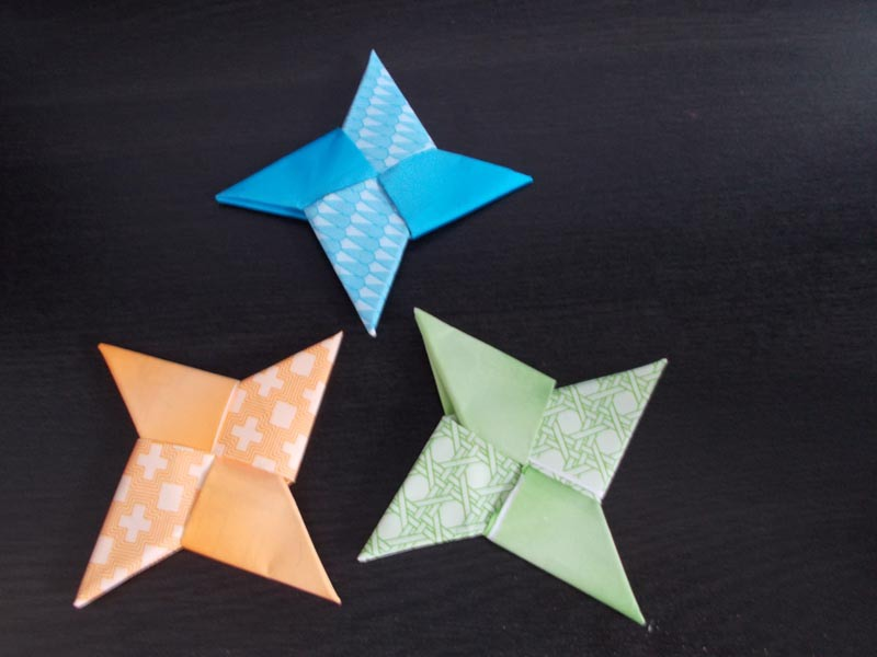 Three different colored Origami Ninja