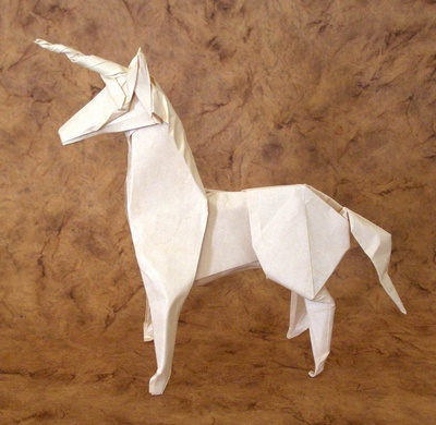 White Origami Unicorn