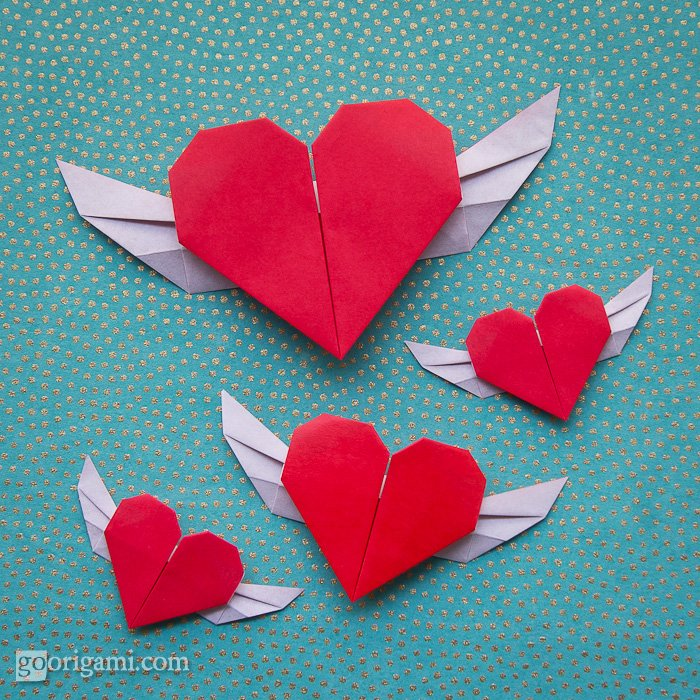Paper Heart Origami with Wings