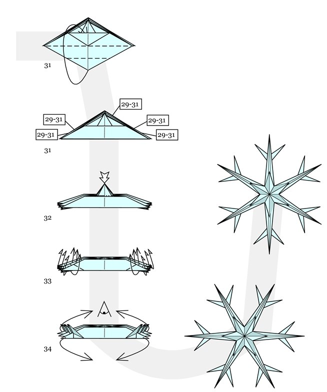 Snow Flake Christmas Origami Instructions