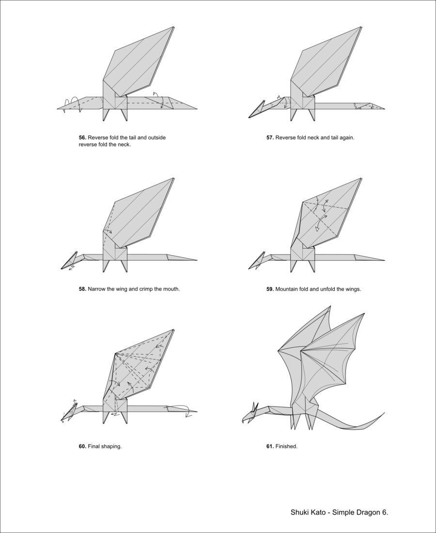 Let's follow Origami Dragon Diagram