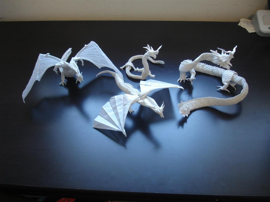 A Group of Origami Dragons