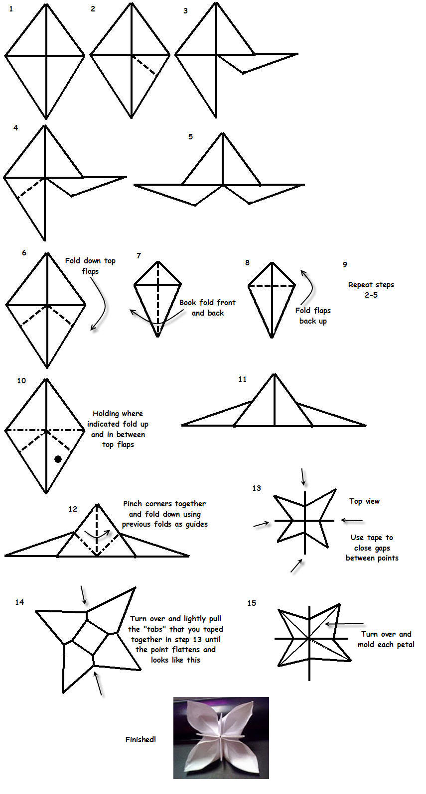 origami flowers instructions diagrams