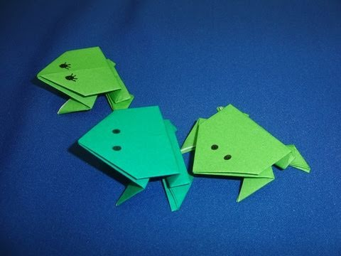 Three Origami Jumping Frog