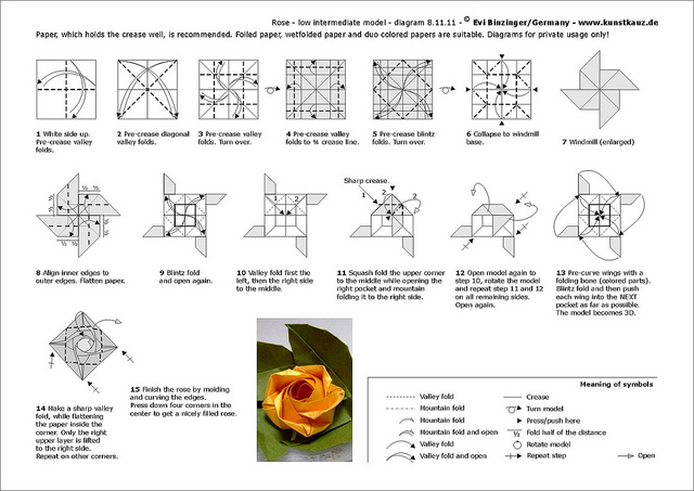 Pretty Petals Origami Rose Diagrams