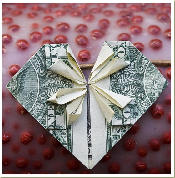 Pretty Heart Origami With Money