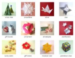 Various christmas origami paper