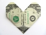 Heart dollar bill origami