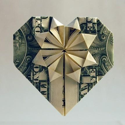 Beautiful dollar bill origami heart