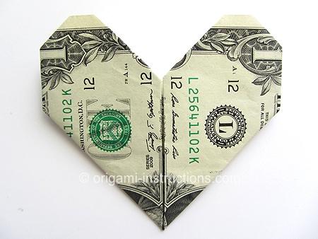 Heart dollar bill origami