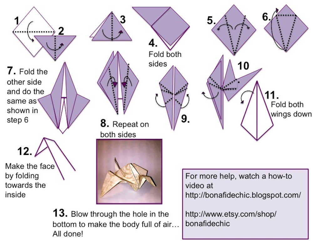 Learn how to make a crane origami