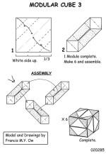 Cube modular origami diagrams