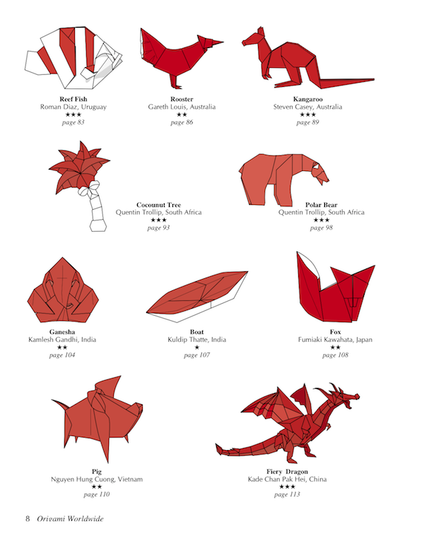 Red origami ancient dragon