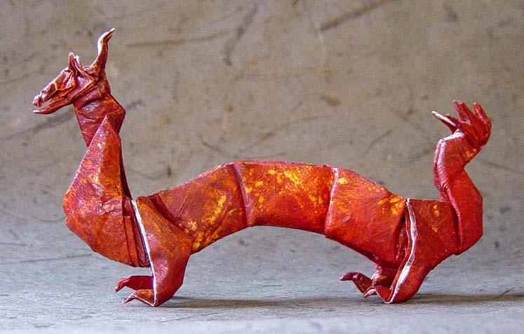 Unique origami chinese dragon