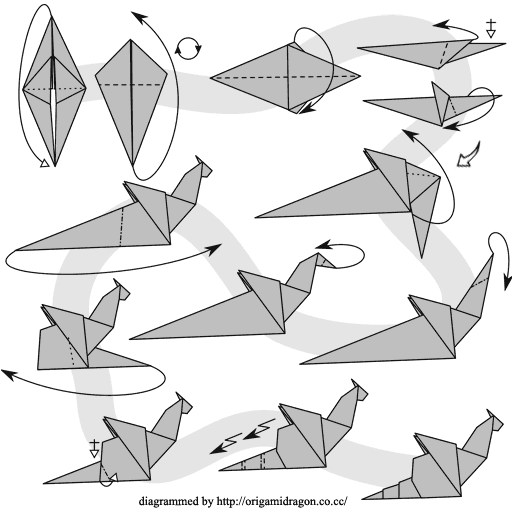 Nice origami dragon diagram