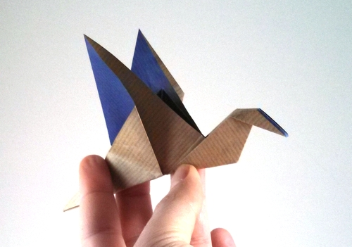 Two tone origami flapping bird