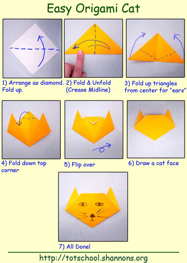 Cat origami for kids easy
