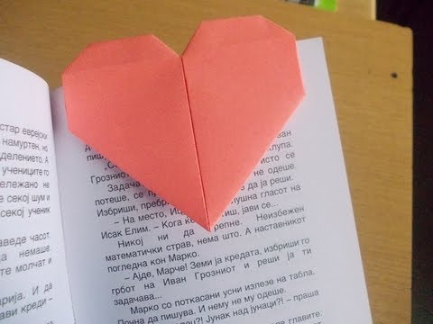 Delightful origami heart bookmark