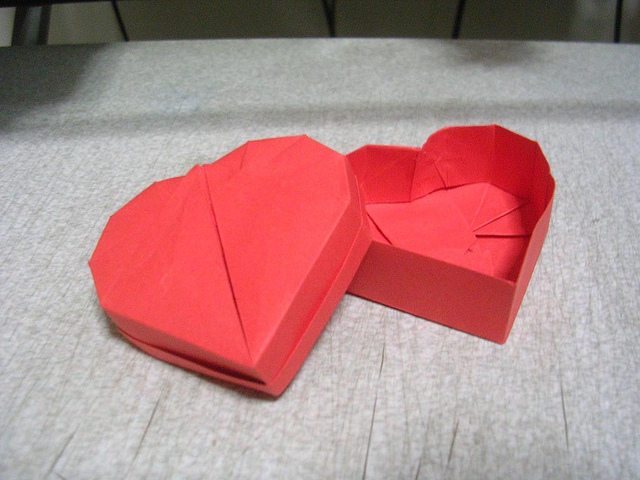 Pretty origami heart box