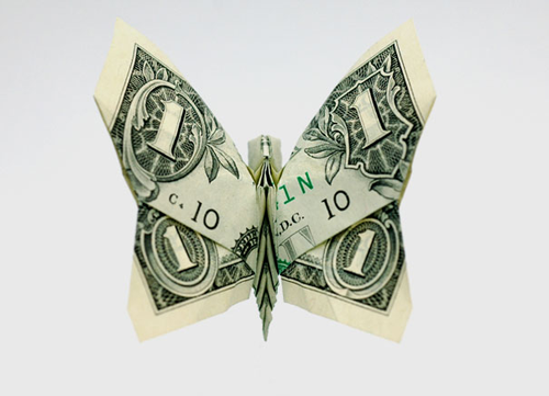 Pretty origami money