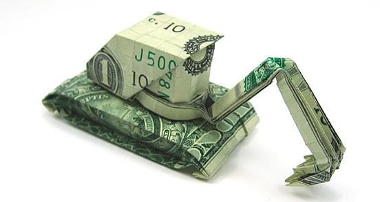 Creative origami with dollar bills
