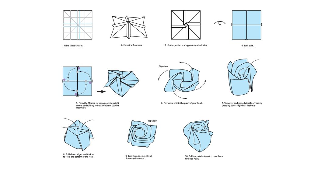 Short rose origami instructions