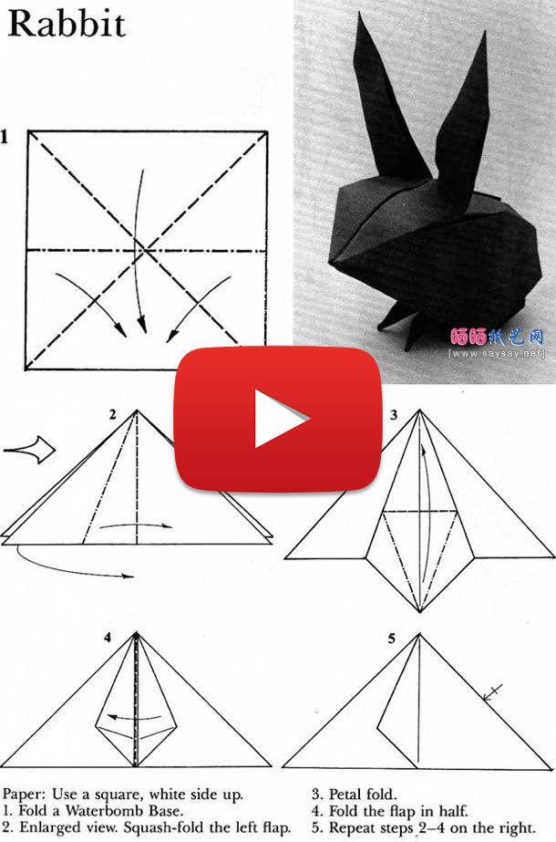 origami bunny rabbit tutorial diagram paper kawaii 28